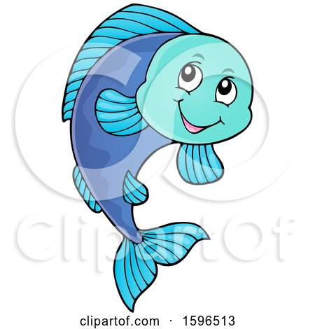 Clipart of a Happy Fish - Royalty Free Vector Illustration by visekart