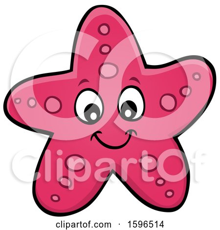 Clipart of a Happy Pink Starfish - Royalty Free Vector Illustration by visekart