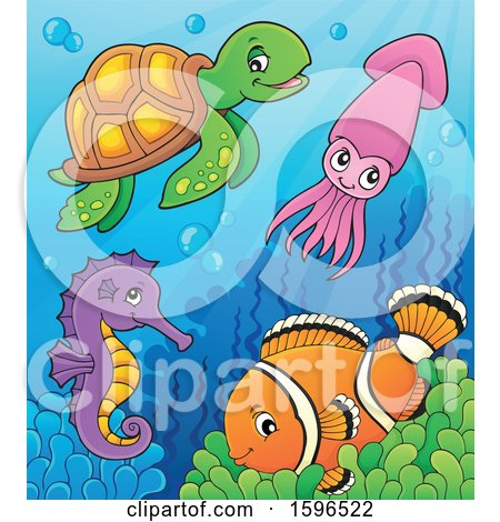 Clipart of Sea Creatures at the Bottom of the Ocean - Royalty Free Vector Illustration by visekart