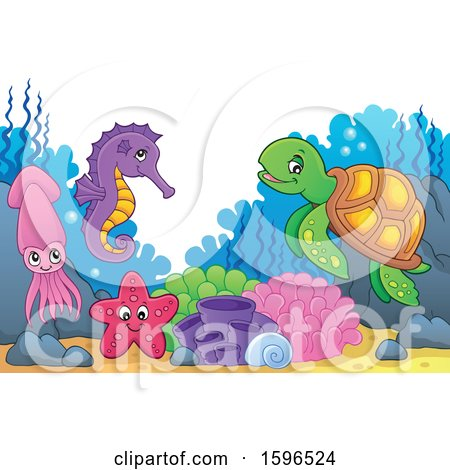 Clipart of a Group of Sea Creatures - Royalty Free Vector Illustration by visekart