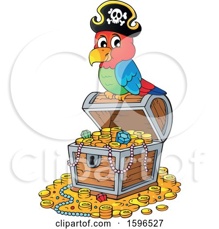 Clipart of a Pirate Parrot on a Treasure Chest - Royalty Free Vector Illustration by visekart