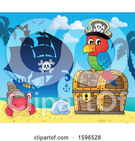 Clipart of a Pirate Parrot on a Treasure Chest on a Beach - Royalty Free Vector Illustration by visekart