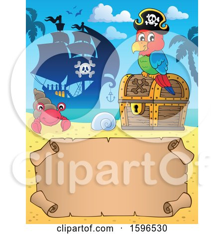 Clipart of a Pirate Parrot on a Treasure Chest over a Scroll| Royalty Free Vector Illustration by visekart