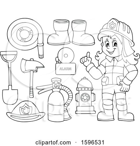 Clipart Of A Lineart Fire Woman And Equipment