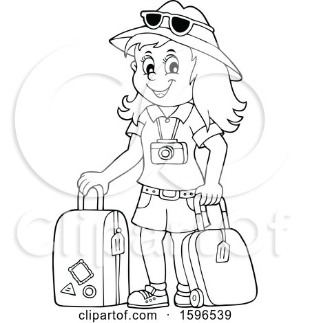 Clipart of a Lineart Female Traveler - Royalty Free Vector Illustration by visekart