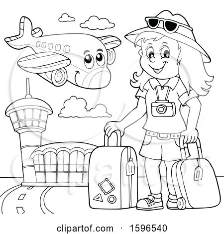 Clipart of a Lineart Female Traveler at an Airport - Royalty Free Vector Illustration by visekart