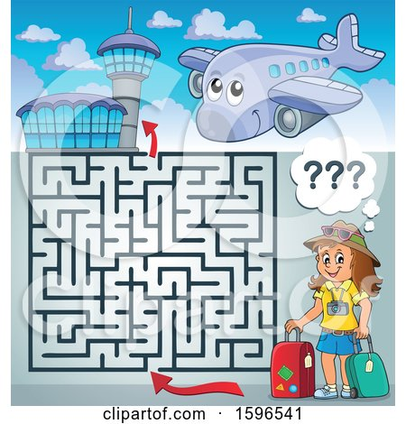 Clipart of a Maze with a Female Traveler at an Airport - Royalty Free Vector Illustration by visekart