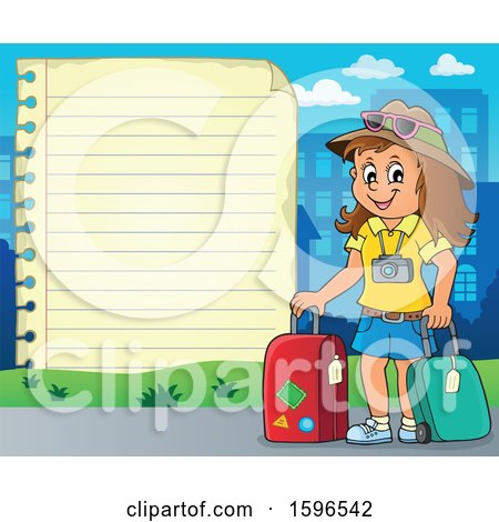 Clipart of a Paper Border with a Female Traveler - Royalty Free Vector Illustration by visekart