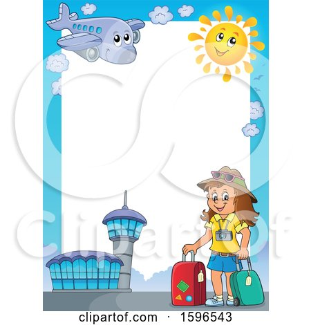 Clipart of an Airport Border with a Female Traveler - Royalty Free Vector Illustration by visekart