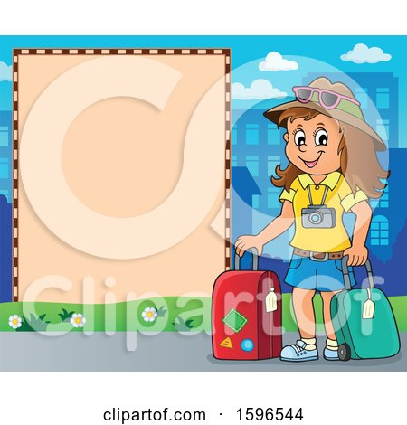 Clipart of a Border with a Female Traveler - Royalty Free Vector Illustration by visekart