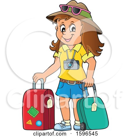 Clipart of a Female Traveler - Royalty Free Vector Illustration by visekart