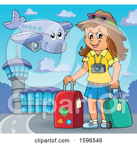 Clipart of a Female Traveler at an Airport - Royalty Free Vector Illustration by visekart