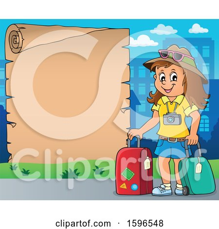 Clipart of a Scroll Border with a Female Traveler - Royalty Free Vector Illustration by visekart