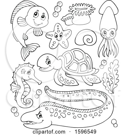 Clipart of Lineart Sea Creatures - Royalty Free Vector Illustration by visekart