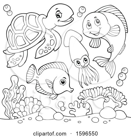 Clipart of a Lineart Sea Creatures - Royalty Free Vector Illustration by visekart