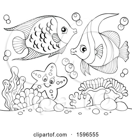 Clipart of Lineart Fish - Royalty Free Vector Illustration by visekart