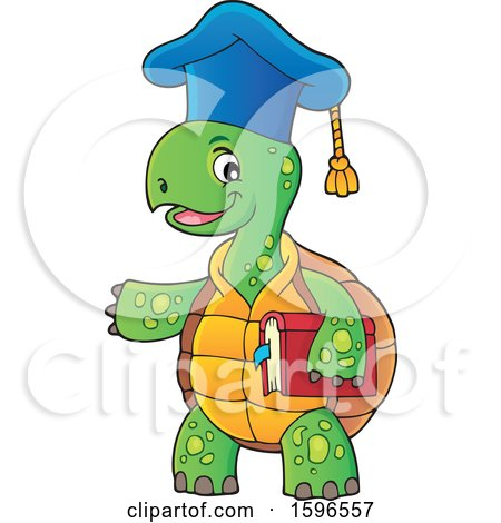 Clipart of a Tortoise Teacher Holding a Book and Presenting - Royalty Free Vector Illustration by visekart