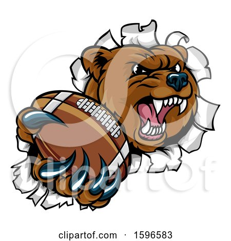 Clipart of a Bear Sports Mascot Breaking Through a Wall with an American Football in a Paw - Royalty Free Vector Illustration by AtStockIllustration
