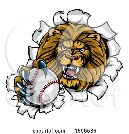 Clipart of a Tough Lion Sports Mascot Holding out a Baseball and Breaking Through a Wall - Royalty Free Vector Illustration by AtStockIllustration