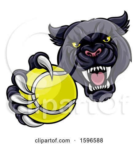 Clipart of a Tough Black Panther Monster Mascot Holding out a Tennis Ball in One Clawed Paw - Royalty Free Vector Illustration by AtStockIllustration