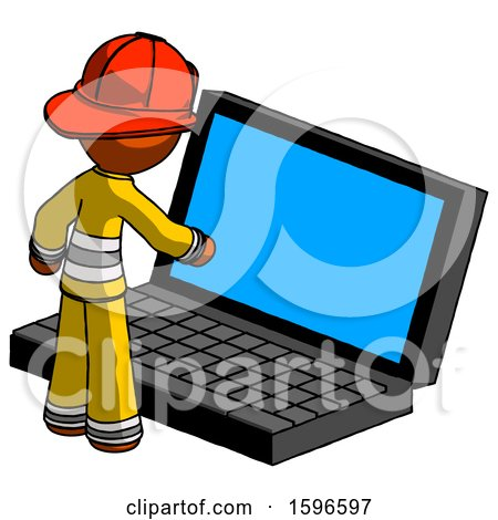 Orange Firefighter Fireman Man Using Large Laptop Computer by Leo Blanchette