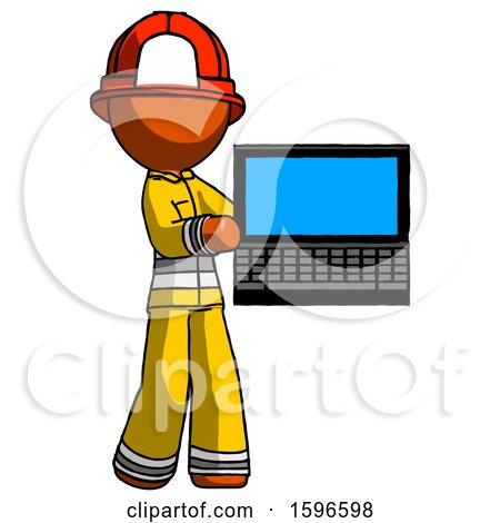 Orange Firefighter Fireman Man Holding Laptop Computer Presenting Something on Screen by Leo Blanchette