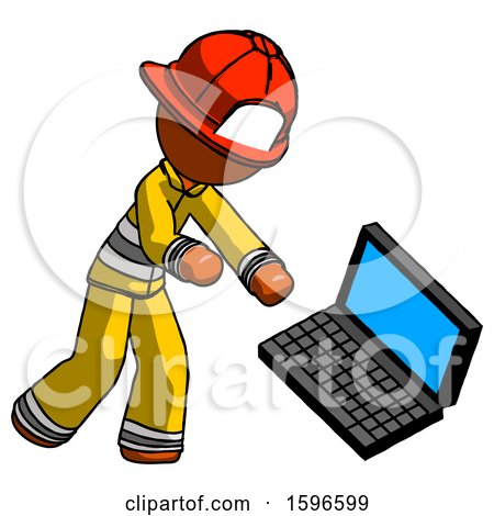 Orange Firefighter Fireman Man Throwing Laptop Computer in Frustration by Leo Blanchette