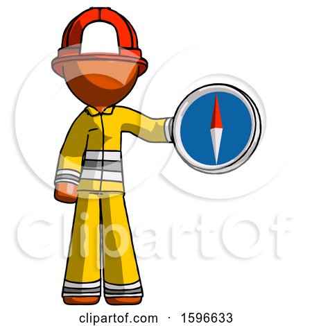 Orange Firefighter Fireman Man Holding a Large Compass by Leo Blanchette