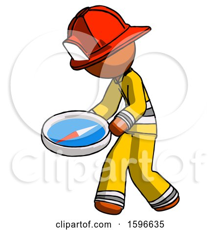 Orange Firefighter Fireman Man Walking with Large Compass by Leo Blanchette