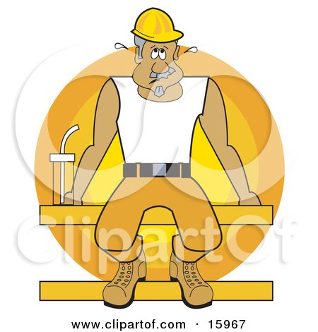 Sweaty Male Construction Worker In A Hardhat, Seated On A Beam With A Water Bottle While On Break During A Hot Day Clipart Illustration by Andy Nortnik