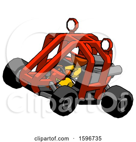 Orange Firefighter Fireman Man Riding Sports Buggy Side Top Angle View by Leo Blanchette