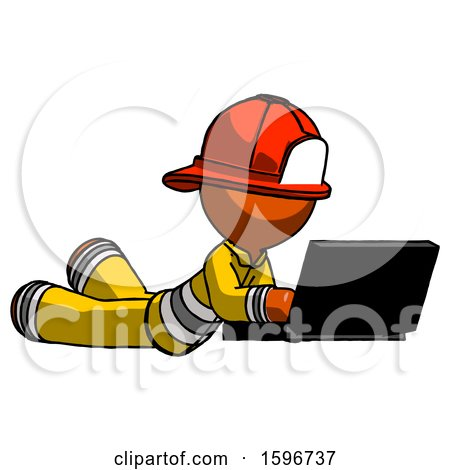 Orange Firefighter Fireman Man Using Laptop Computer While Lying on Floor Side Angled View by Leo Blanchette