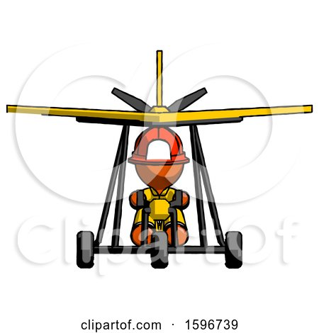 Orange Firefighter Fireman Man in Ultralight Aircraft Front View by Leo Blanchette