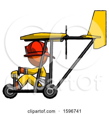 Orange Firefighter Fireman Man in Ultralight Aircraft Side View by Leo Blanchette
