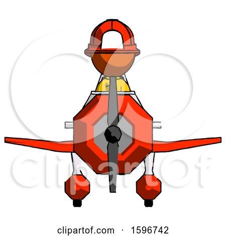 Orange Firefighter Fireman Man in Geebee Stunt Plane Front View by Leo Blanchette
