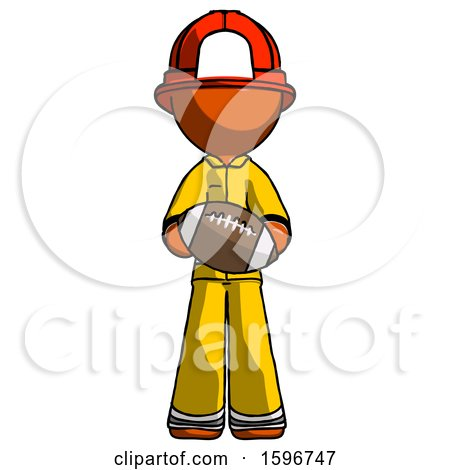 Orange Firefighter Fireman Man Giving Football to You by Leo Blanchette