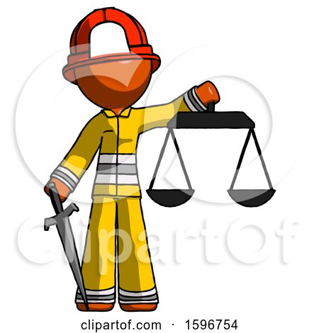 Orange Firefighter Fireman Man Justice Concept with Scales and Sword, Justicia Derived by Leo Blanchette