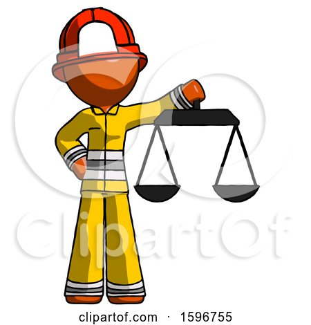Orange Firefighter Fireman Man Holding Scales of Justice by Leo Blanchette