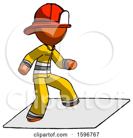 Orange Firefighter Fireman Man on Postage Envelope Surfing by Leo Blanchette