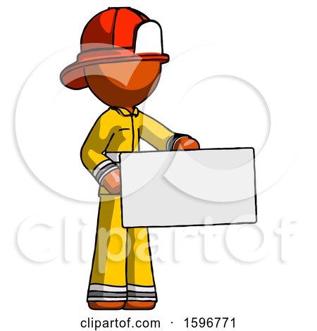 Orange Firefighter Fireman Man Presenting Large Envelope by Leo Blanchette