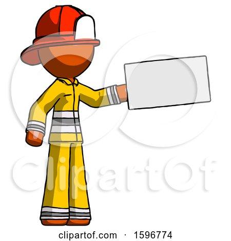 Orange Firefighter Fireman Man Holding Large Envelope by Leo Blanchette