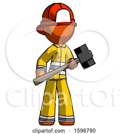 Orange Firefighter Fireman Man with Sledgehammer Standing Ready to Work or Defend by Leo Blanchette