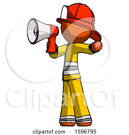 Orange Firefighter Fireman Man Shouting into Megaphone Bullhorn Facing Left by Leo Blanchette