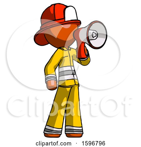 Orange Firefighter Fireman Man Shouting into Megaphone Bullhorn Facing Right by Leo Blanchette