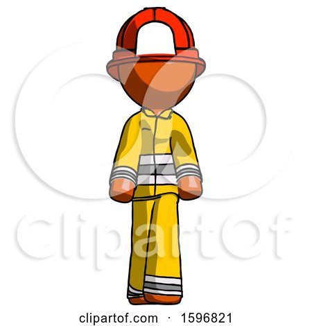 Orange Firefighter Fireman Man Walking Front View by Leo Blanchette
