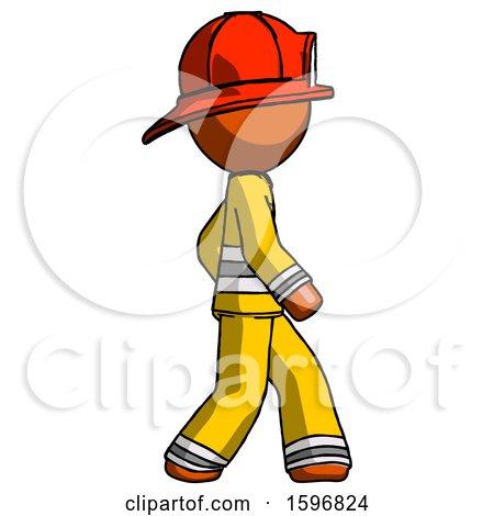 Orange Firefighter Fireman Man Walking Right Side View by Leo Blanchette