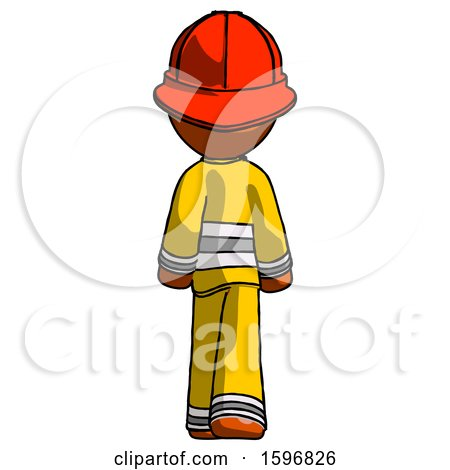 Orange Firefighter Fireman Man Walking Away, Back View by Leo Blanchette