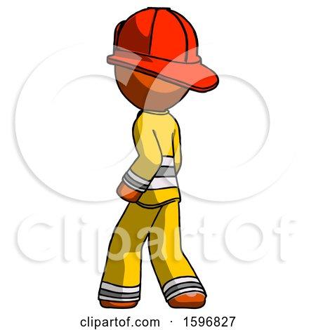 Orange Firefighter Fireman Man Walking Away Direction Left View by Leo Blanchette