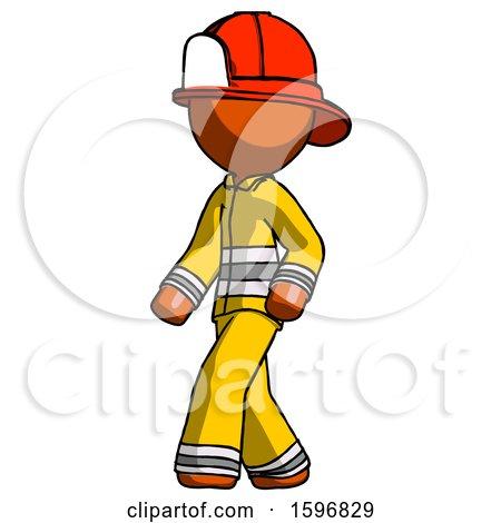 Orange Firefighter Fireman Man Man Walking Turned Left Front View by Leo Blanchette