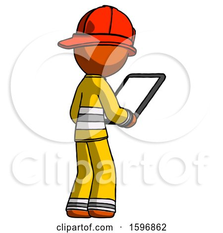 Orange Firefighter Fireman Man Looking at Tablet Device Computer Facing Away by Leo Blanchette